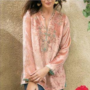 Soft surroundings velvet moroccan bead embroidered